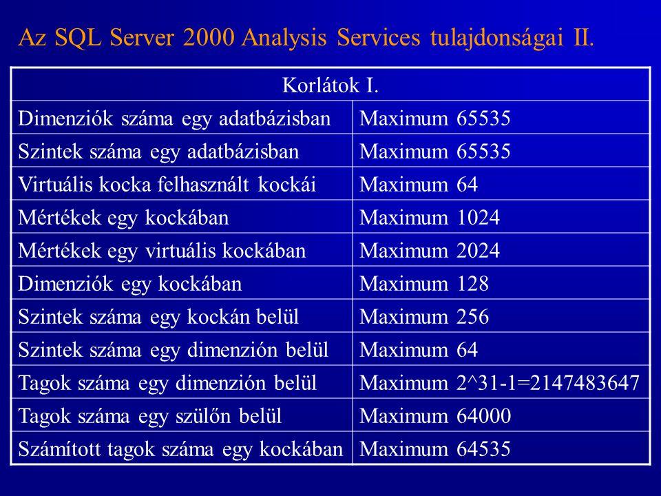 Az SQL Server 2000 Analysis Services tulajdonságai II. Korlátok I. Dimenziók száma egy adatbázisbanMaximum 65535 Szintek száma egy adatbázisbanMaximum