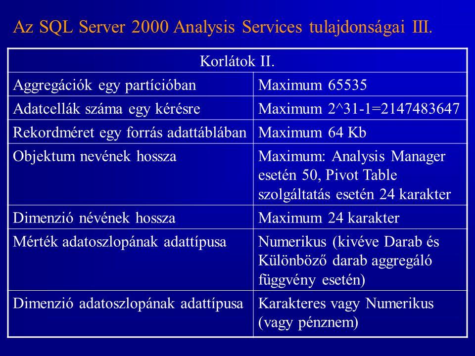 Az SQL Server 2000 Analysis Services tulajdonságai III. Korlátok II. Aggregációk egy partícióbanMaximum 65535 Adatcellák száma egy kérésreMaximum 2^31