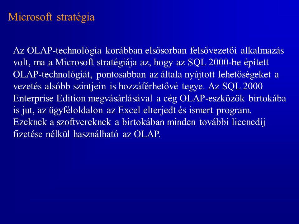 Microsoft stratégia Az OLAP-technológia korábban elsősorban felsővezetői alkalmazás volt, ma a Microsoft stratégiája az, hogy az SQL 2000-be épített O