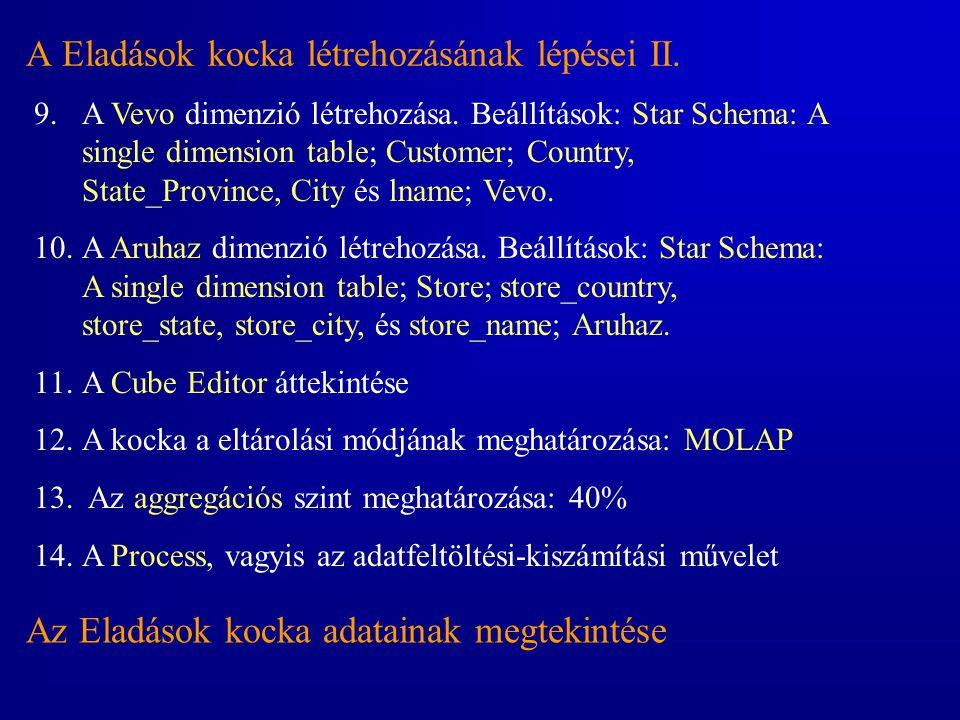 A Eladások kocka létrehozásának lépései II. 9.A Vevo dimenzió létrehozása. Beállítások: Star Schema: A single dimension table; Customer; Country, Stat