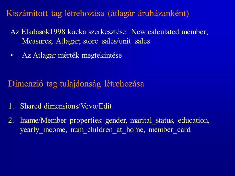 Kiszámított tag létrehozása (átlagár áruházanként) Az Eladasok1998 kocka szerkesztése: New calculated member; Measures; Atlagar; store_sales/unit_sale