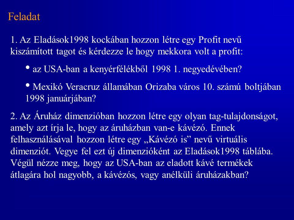 Feladat 1. Az Eladások1998 kockában hozzon létre egy Profit nevű kiszámított tagot és kérdezze le hogy mekkora volt a profit: • az USA-ban a kenyérfél