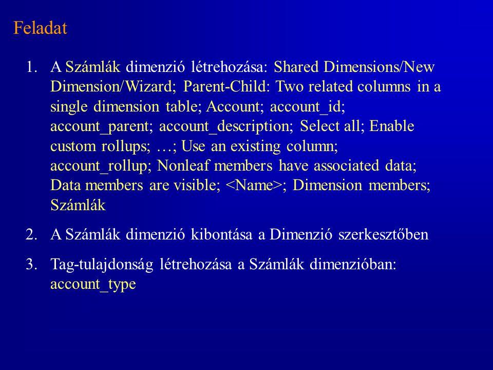 Feladat 1.A Számlák dimenzió létrehozása: Shared Dimensions/New Dimension/Wizard; Parent-Child: Two related columns in a single dimension table; Accou