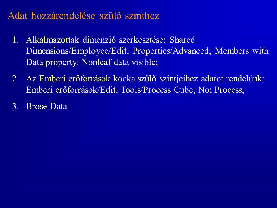 Adat hozzárendelése szülő szinthez 1.Alkalmazottak dimenzió szerkesztése: Shared Dimensions/Employee/Edit; Properties/Advanced; Members with Data prop