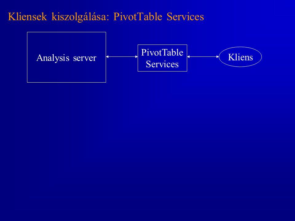 Kliensek kiszolgálása: PivotTable Services Analysis server PivotTable Services Kliens