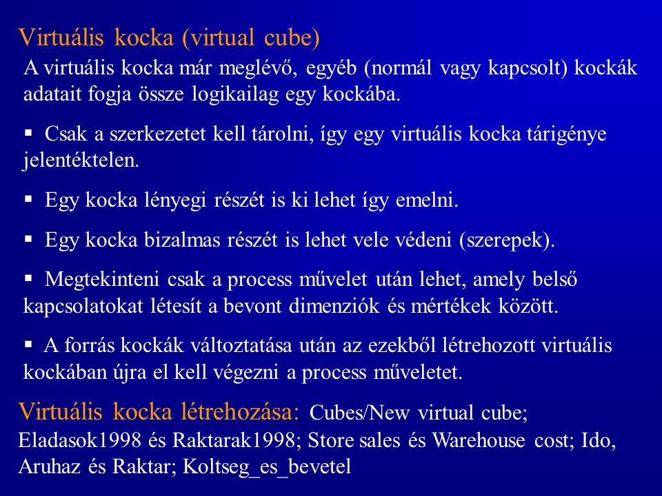 Virtuális kocka (virtual cube) A virtuális kocka már meglévő, egyéb (normál vagy kapcsolt) kockák adatait fogja össze logikailag egy kockába.  Csak a