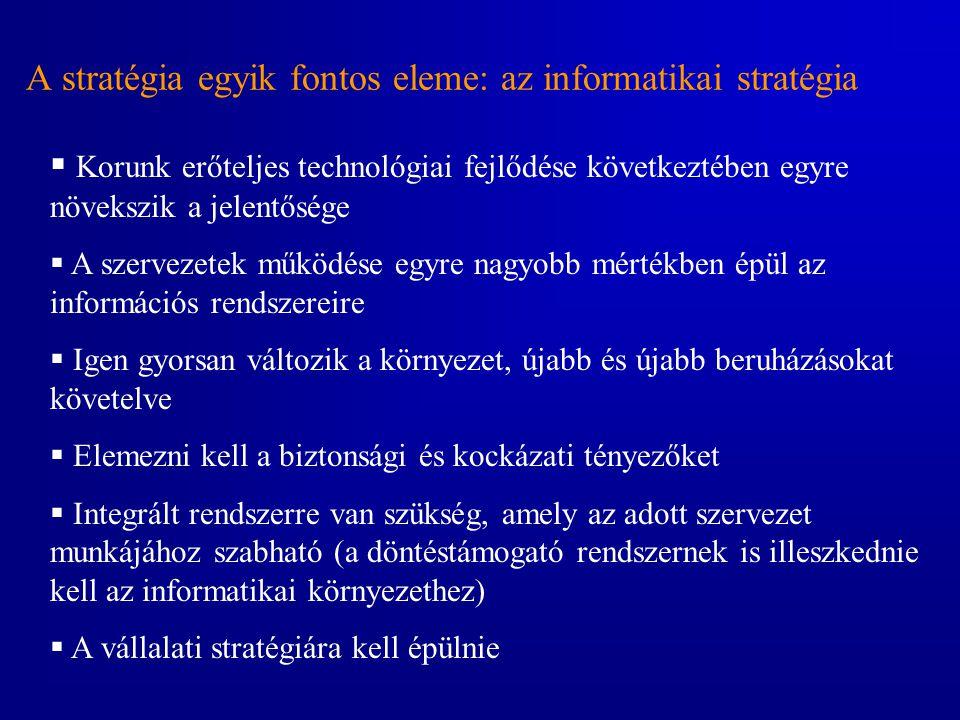 A stratégia egyik fontos eleme: az informatikai stratégia  Korunk erőteljes technológiai fejlődése következtében egyre növekszik a jelentősége  A sz