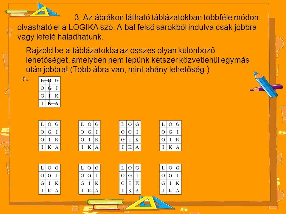 3.Az ábrákon látható táblázatokban többféle módon olvasható el a LOGIKA szó.