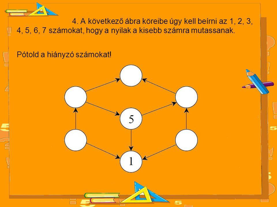 4. A következő ábra köreibe úgy kell beírni az 1, 2, 3, 4, 5, 6, 7 számokat, hogy a nyilak a kisebb számra mutassanak. Pótold a hiányzó számokat!