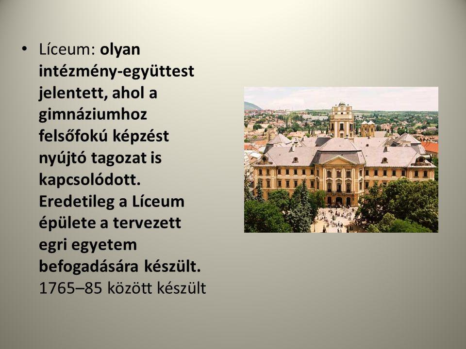 • Líceum: olyan intézmény-együttest jelentett, ahol a gimnáziumhoz felsőfokú képzést nyújtó tagozat is kapcsolódott. Eredetileg a Líceum épülete a ter