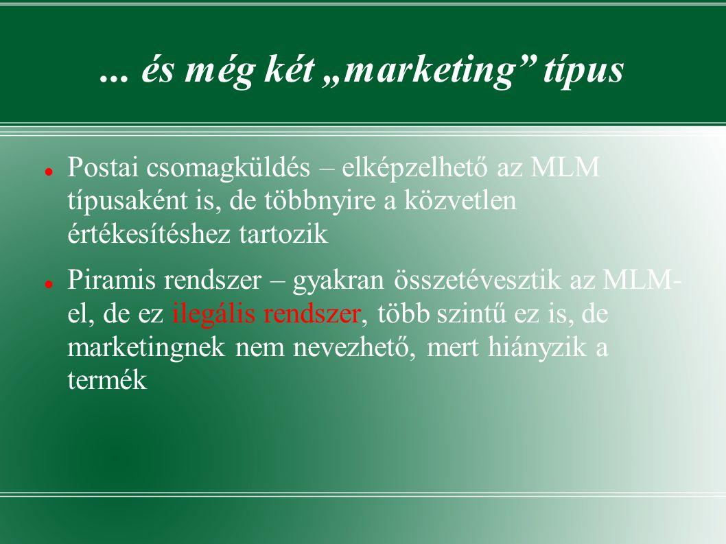 """... és még két """"marketing"""" típus  Postai csomagküldés – elképzelhető az MLM típusaként is, de többnyire a közvetlen értékesítéshez tartozik  Piramis"""