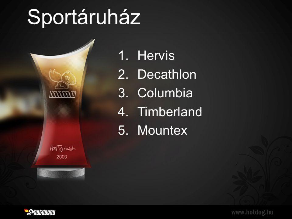 Sportáruház www.hotdog.hu 1.Hervis 2.Decathlon 3.Columbia 4.Timberland 5.Mountex