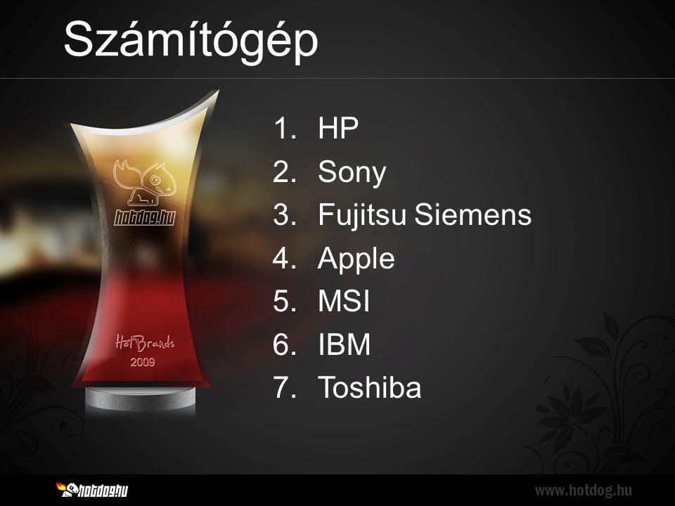 Számítógép www.hotdog.hu 1.HP 2.Sony 3.Fujitsu Siemens 4.Apple 5.MSI 6.IBM 7.Toshiba