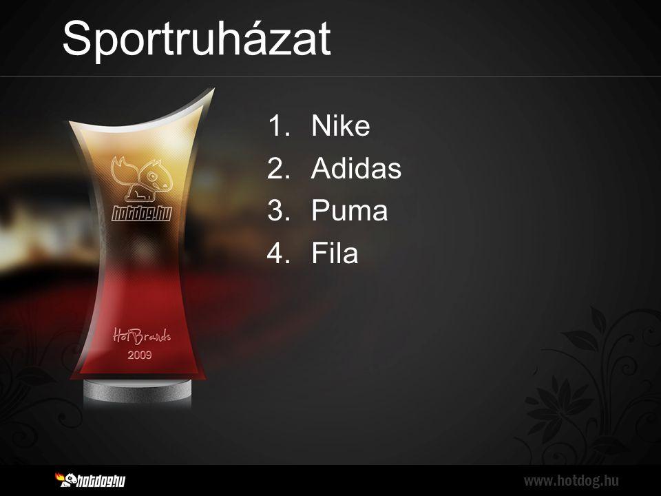 Sportruházat www.hotdog.hu 1.Nike 2.Adidas 3.Puma 4.Fila