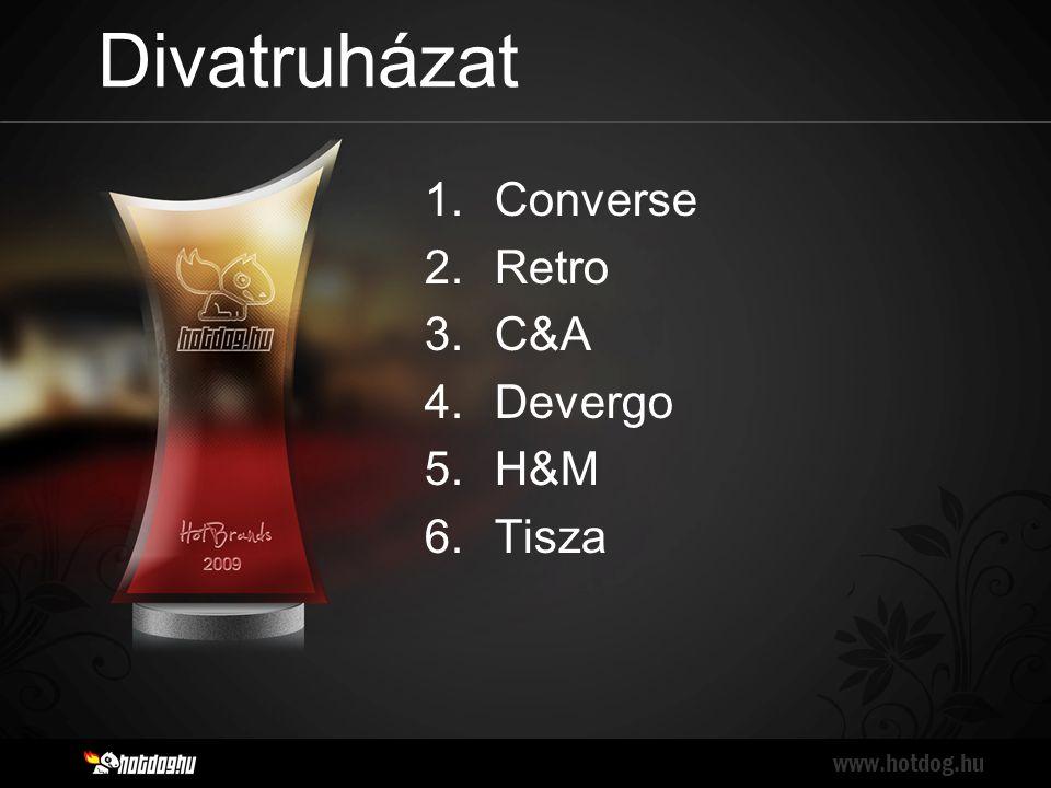 Divatruházat www.hotdog.hu 1.Converse 2.Retro 3.C&A 4.Devergo 5.H&M 6.Tisza