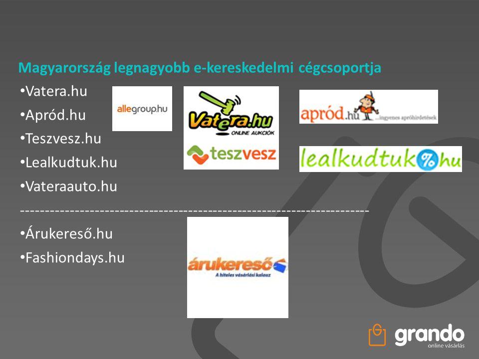 Magyarország legnagyobb e-kereskedelmi cégcsoportja • Vatera.hu • Apród.hu • Teszvesz.hu • Lealkudtuk.hu • Vateraauto.hu -----------------------------