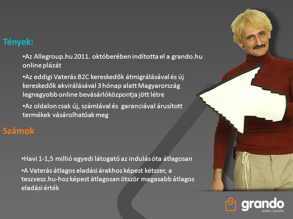 Tények: • Az Allegroup.hu 2011. októberében indította el a grando.hu online plázát • Az eddigi Vaterás B2C kereskedők átmigrálásával és új kereskedők