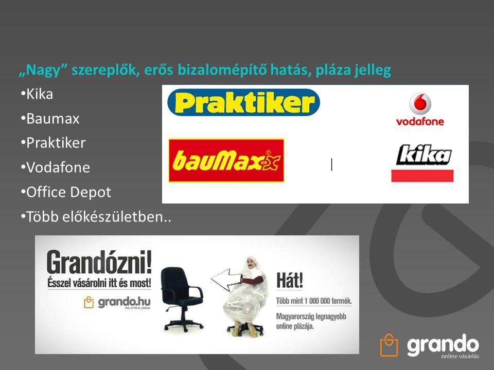 """""""Nagy"""" szereplők, erős bizalomépítő hatás, pláza jelleg • Kika • Baumax • Praktiker • Vodafone • Office Depot • Több előkészületben.."""