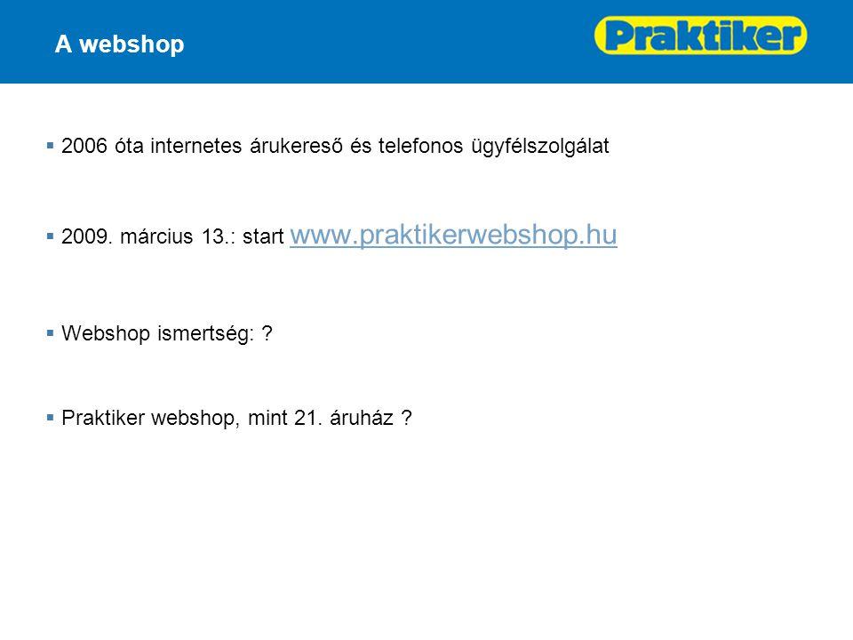 A webshop  2006 óta internetes árukereső és telefonos ügyfélszolgálat  2009.