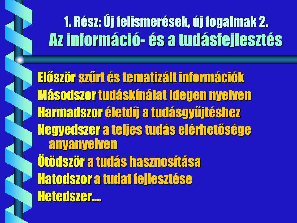 1. Rész: Új felismerések, új fogalmak 2. Az információ- és a tudásfejlesztés Először szűrt és tematizált információk Másodszor tudáskínálat idegen nye