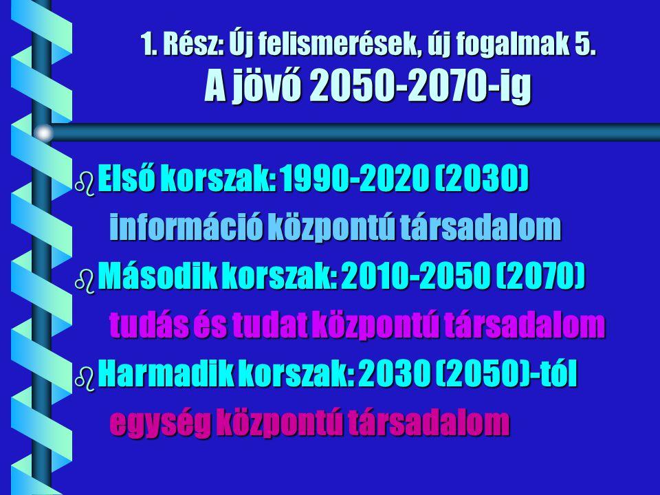 1. Rész: Új felismerések, új fogalmak 5. A jövő 2050-2070-ig b Első korszak: 1990-2020 (2030) információ központú társadalom információ központú társa