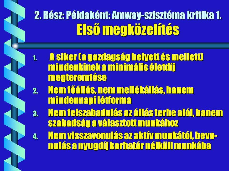 2. Rész: Példaként: Amway-szisztéma kritika 1. Első megközelítés 1. A siker (a gazdagság helyett és mellett) mindenkinek a minimális életdíj megteremt