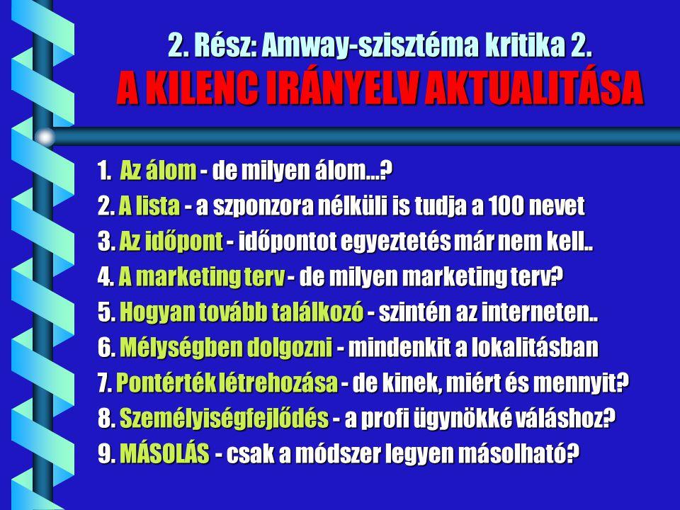 2. Rész: Amway-szisztéma kritika 2. A KILENC IRÁNYELV AKTUALITÁSA 1. Az álom - de milyen álom…? 2. A lista - a szponzora nélküli is tudja a 100 nevet