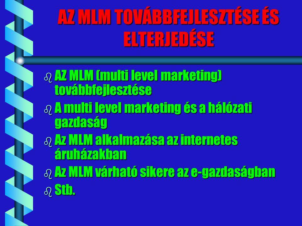 AZ MLM TOVÁBBFEJLESZTÉSE ÉS ELTERJEDÉSE b AZ MLM (multi level marketing) továbbfejlesztése b A multi level marketing és a hálózati gazdaság b Az MLM a