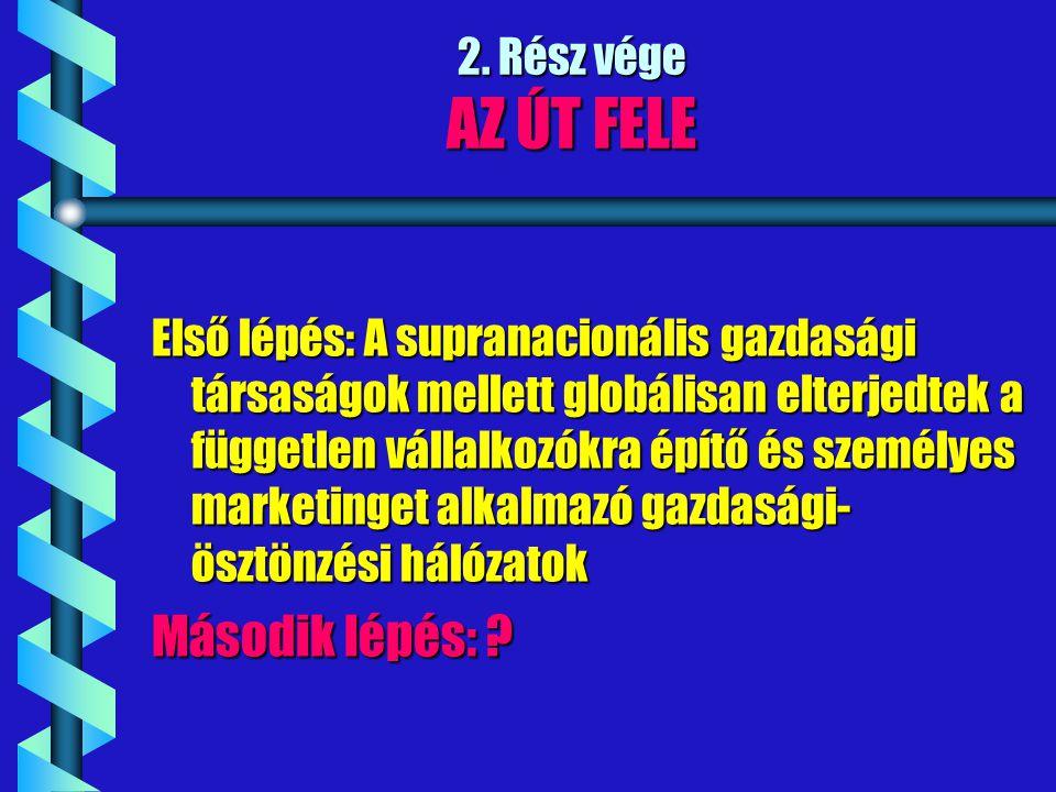 2. Rész vége AZ ÚT FELE Első lépés: A supranacionális gazdasági társaságok mellett globálisan elterjedtek a független vállalkozókra építő és személyes