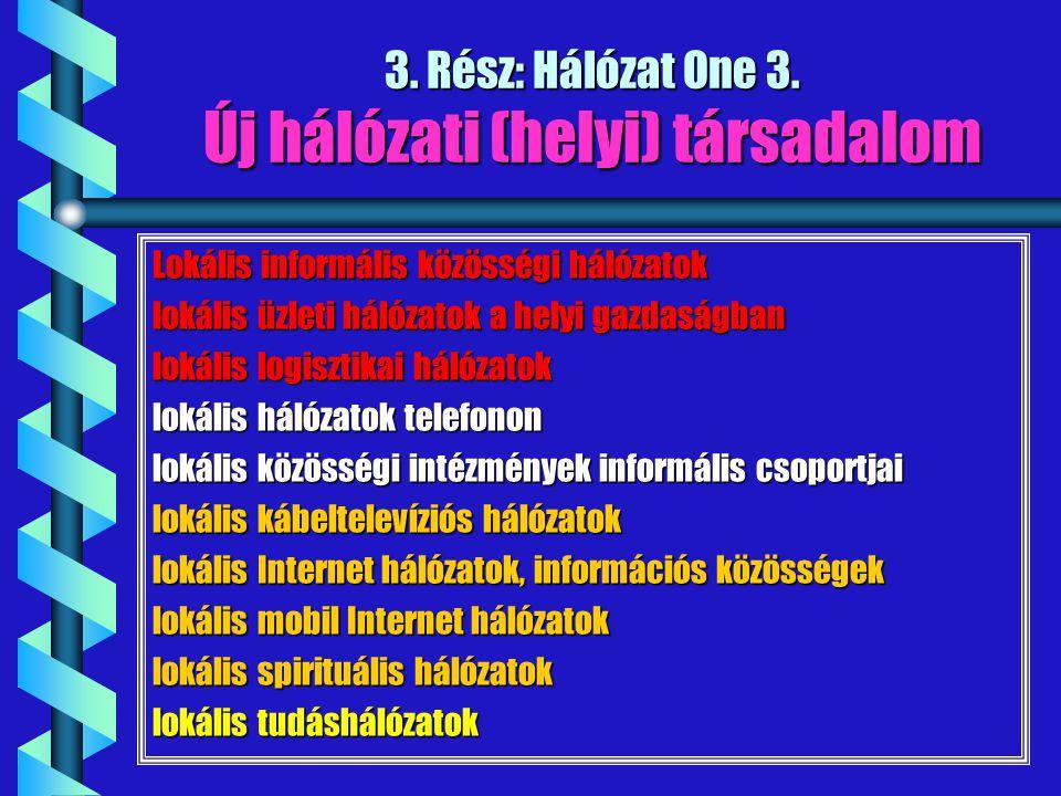 3. Rész: Hálózat One 3. Új hálózati (helyi) társadalom Lokális informális közösségi hálózatok lokális üzleti hálózatok a helyi gazdaságban lokális log