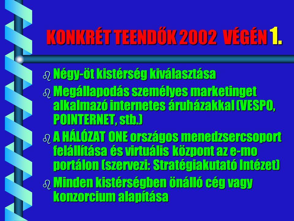 KONKRÉT TEENDŐK 2002 VÉGÉN 1. b Négy-öt kistérség kiválasztása b Megállapodás személyes marketinget alkalmazó internetes áruházakkal (VESPO, POINTERNE
