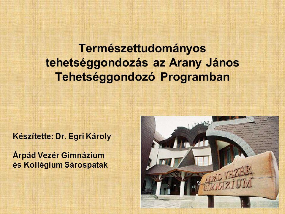 Természettudományos tehetséggondozás az Arany János Tehetséggondozó Programban Készítette: Dr.