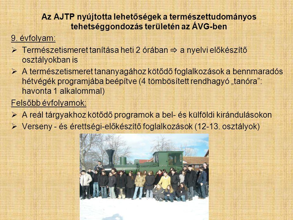 Az AJTP nyújtotta lehetőségek a természettudományos tehetséggondozás területén az ÁVG-ben 9.
