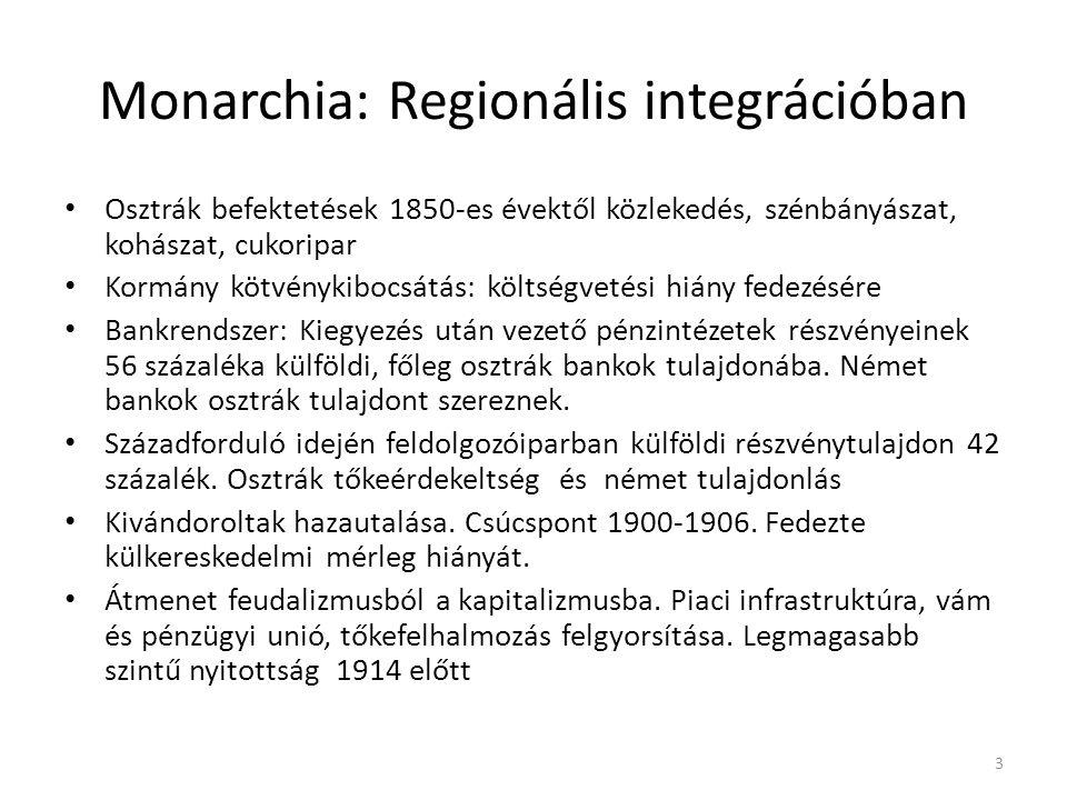 Monarchia: Regionális integrációban • Osztrák befektetések 1850-es évektől közlekedés, szénbányászat, kohászat, cukoripar • Kormány kötvénykibocsátás: költségvetési hiány fedezésére • Bankrendszer: Kiegyezés után vezető pénzintézetek részvényeinek 56 százaléka külföldi, főleg osztrák bankok tulajdonába.