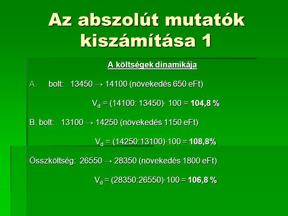 Az abszolút mutatók kiszámítása 1 A költségek dinamikája A.bolt: 13450 → 14100 (növekedés 650 eFt) V d = (14100: 13450)· 100 = 104,8 % V d = (14100: 1