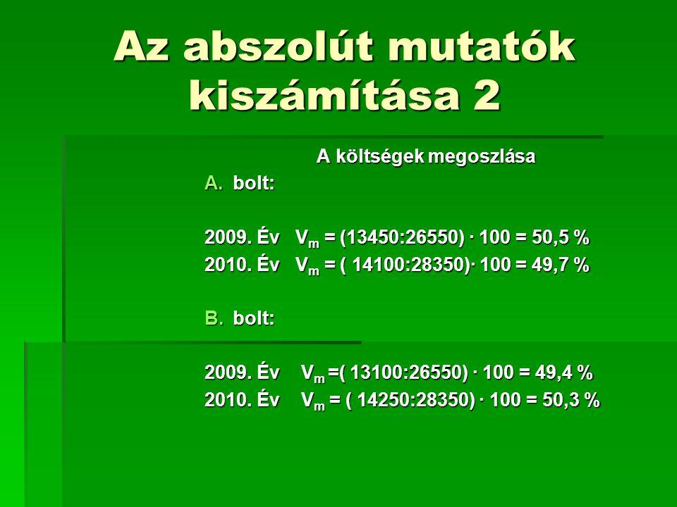 Az abszolút mutatók kiszámítása 2 A költségek megoszlása A.bolt: 2009. Év V m = (13450:26550) · 100 = 50,5 % 2010. Év V m = ( 14100:28350)· 100 = 49,7