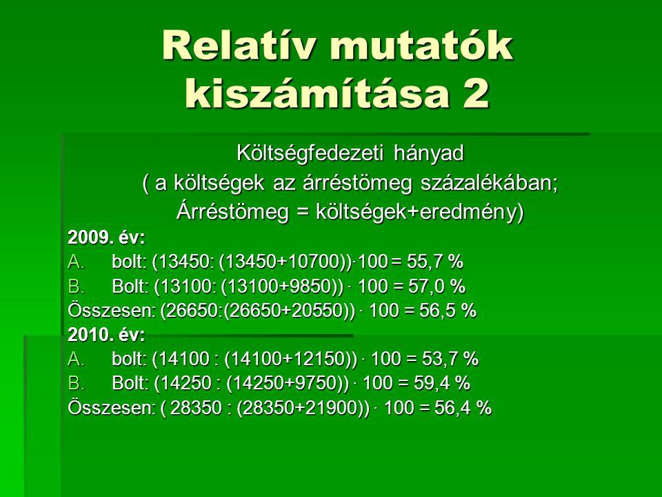 Relatív mutatók kiszámítása 2 Költségfedezeti hányad ( a költségek az árréstömeg százalékában; Árréstömeg = költségek+eredmény) 2009. év: A.bolt: (134