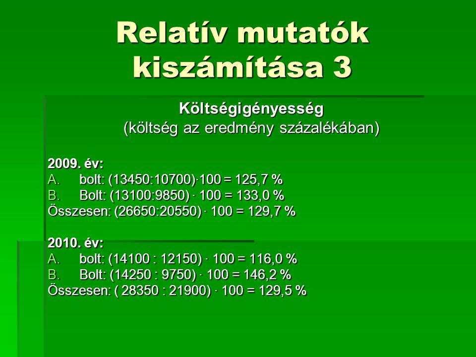 Relatív mutatók kiszámítása 3 Költségigényesség (költség az eredmény százalékában) 2009. év: A.bolt: (13450:10700)·100 = 125,7 % B.Bolt: (13100:9850)