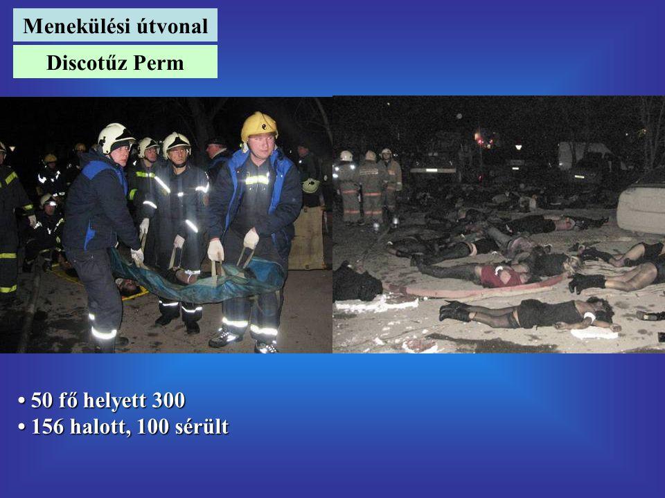 Menekülési útvonal Discotűz Perm • 50 fő helyett 300 • 156 halott, 100 sérült