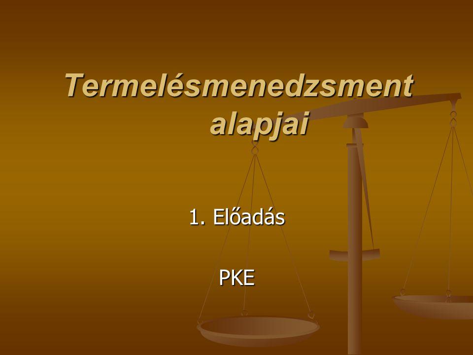 Termelésmenedzsment alapjai 1. Előadás PKE