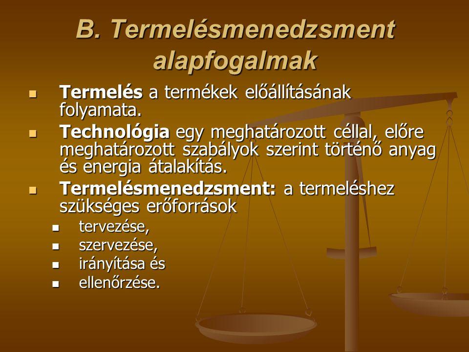 B.Termelésmenedzsment alapfogalmak  Termelés a termékek előállításának folyamata.