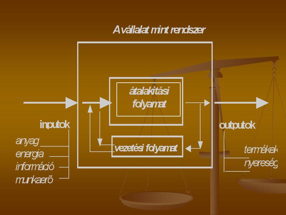 Termelőrendszer  Termelőrendszer: erőforrások olyan halmaza, amelynek feladata egy bemenő erőforrásrendszer átalakítása termékké vagy szolgáltatássá a technológiai folyamat keretében.