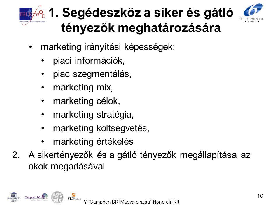 SIXTH FRAMEWORK PROGRAMME 10 •marketing irányítási képességek: •piaci információk, •piac szegmentálás, •marketing mix, •marketing célok, •marketing stratégia, •marketing költségvetés, •marketing értékelés 2.A sikertényezők és a gátló tényezők megállapítása az okok megadásával © Campden BRI Magyarország Nonprofit Kft 1.
