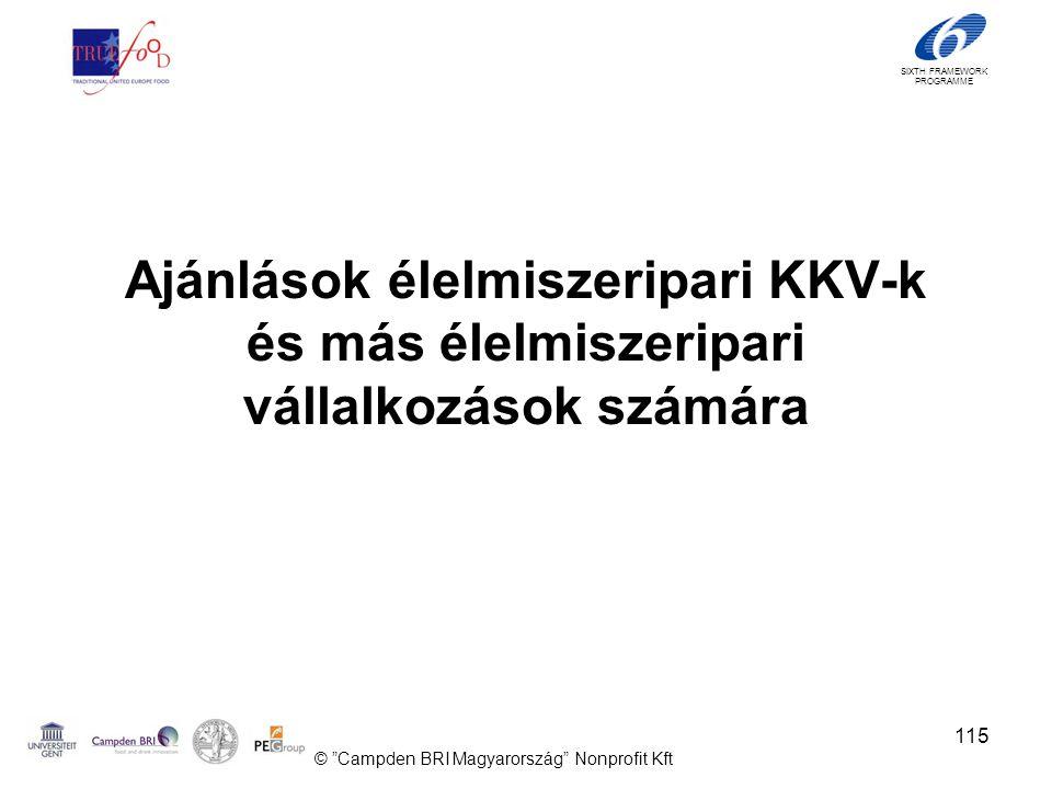 SIXTH FRAMEWORK PROGRAMME Ajánlások élelmiszeripari KKV-k és más élelmiszeripari vállalkozások számára © Campden BRI Magyarország Nonprofit Kft 115