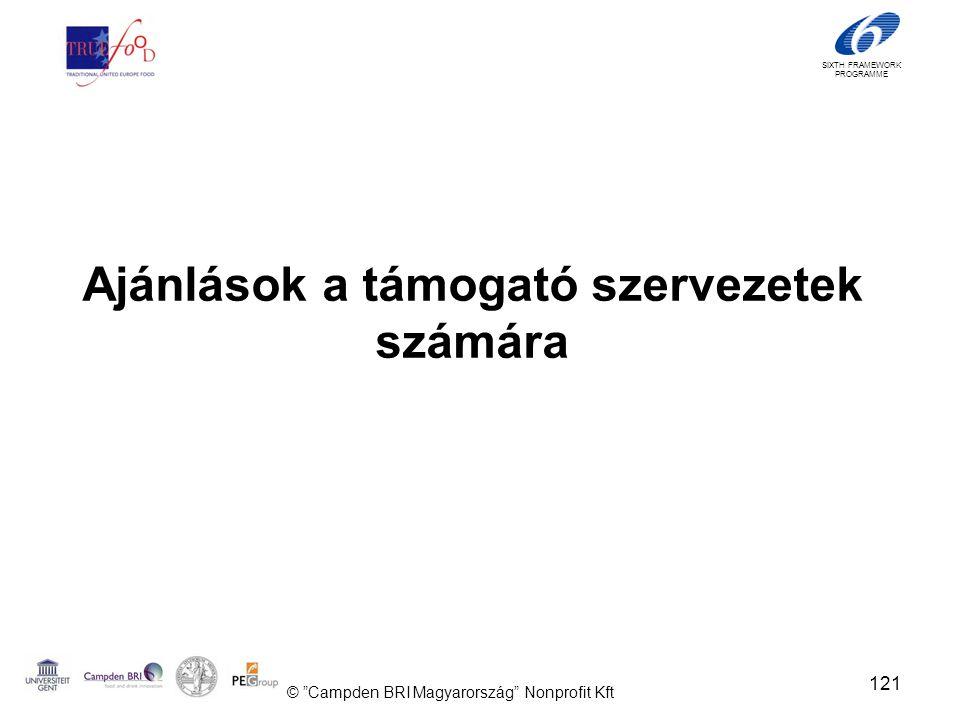 SIXTH FRAMEWORK PROGRAMME Ajánlások a támogató szervezetek számára 121 © Campden BRI Magyarország Nonprofit Kft