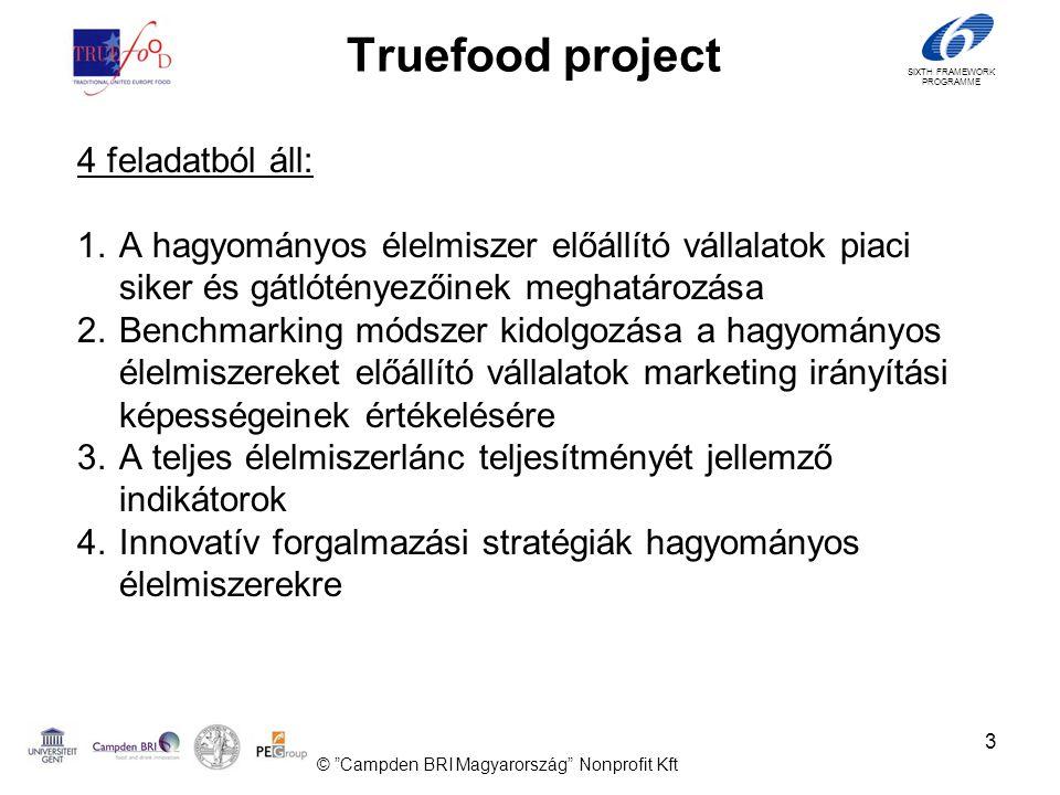 SIXTH FRAMEWORK PROGRAMME 3 Truefood project 4 feladatból áll: 1.A hagyományos élelmiszer előállító vállalatok piaci siker és gátlótényezőinek meghatározása 2.Benchmarking módszer kidolgozása a hagyományos élelmiszereket előállító vállalatok marketing irányítási képességeinek értékelésére 3.A teljes élelmiszerlánc teljesítményét jellemző indikátorok 4.Innovatív forgalmazási stratégiák hagyományos élelmiszerekre © Campden BRI Magyarország Nonprofit Kft