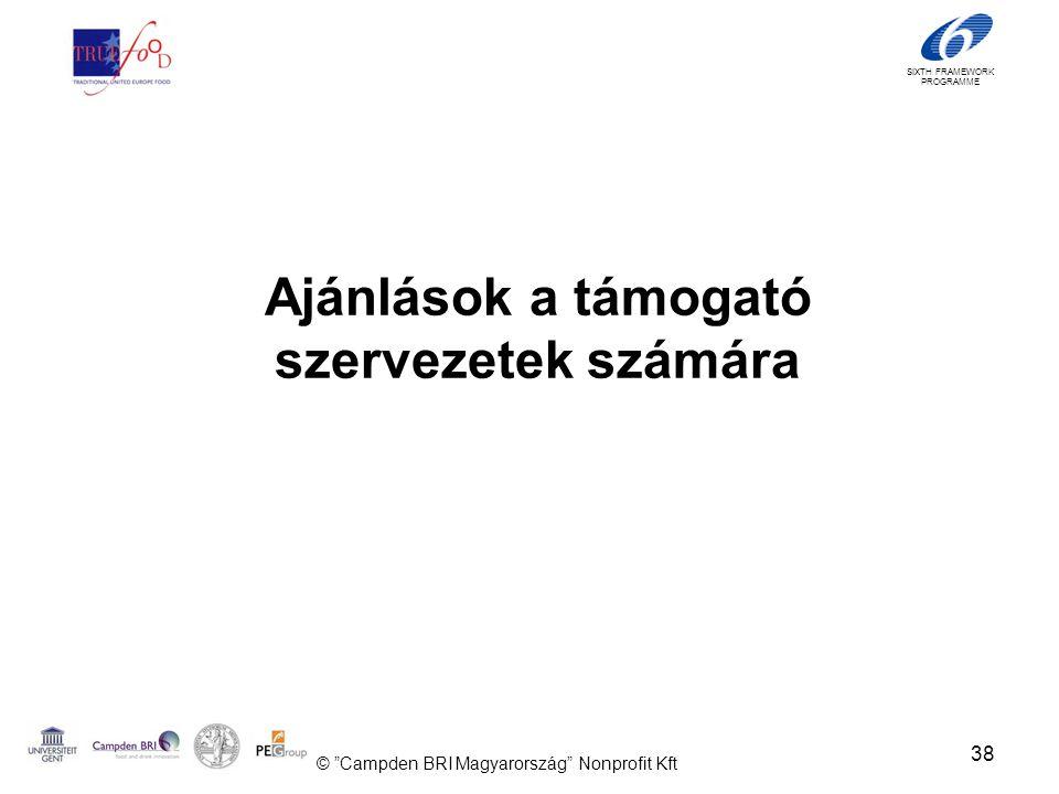 SIXTH FRAMEWORK PROGRAMME Ajánlások a támogató szervezetek számára 38 © Campden BRI Magyarország Nonprofit Kft