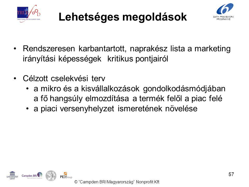 SIXTH FRAMEWORK PROGRAMME Lehetséges megoldások •Rendszeresen karbantartott, naprakész lista a marketing irányítási képességek kritikus pontjairól •Célzott cselekvési terv •a mikro és a kisvállalkozások gondolkodásmódjában a fő hangsúly elmozdítása a termék felől a piac felé •a piaci versenyhelyzet ismeretének növelése 57 © Campden BRI Magyarország Nonprofit Kft