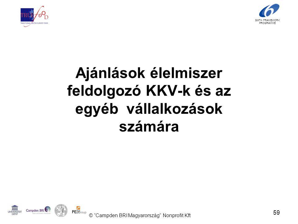 SIXTH FRAMEWORK PROGRAMME Ajánlások élelmiszer feldolgozó KKV-k és az egyéb vállalkozások számára 59 © Campden BRI Magyarország Nonprofit Kft