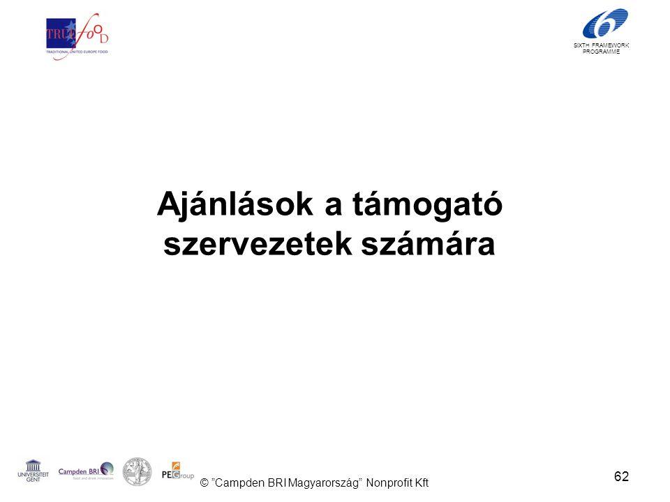 SIXTH FRAMEWORK PROGRAMME Ajánlások a támogató szervezetek számára 62 © Campden BRI Magyarország Nonprofit Kft